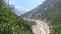 Bhagirathi River in the valley at Gangotri in Uttarakhand, India Stock Footage