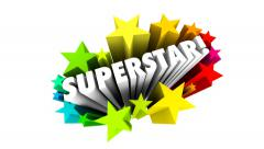 Superstar Word 3d Stars Celebrating Top Best Worker Player Performer Stock Footage