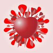 red valentine heart with stains - stock illustration
