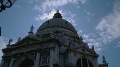 View of Santa Maria della Salute at dusk Stock Footage