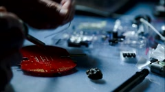 Installation of electronic components on a printed circuit board Stock Footage