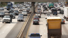 View of Traffic on Busy Freeway in Downtown Los Angeles California Stock Footage