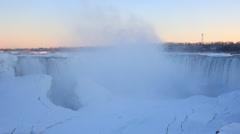 Frozen Niagara Horseshoe Falls in winter Stock Footage