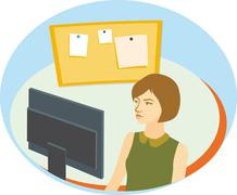 Stock Illustration of Pretty girl with short brown hair in front of computer monitor.
