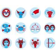 Stock Illustration of Funny blue zodiac sign icon set astrological, illustration vector