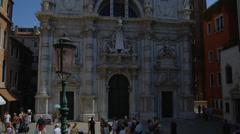 Tourists at Santa Maria della Salute Stock Footage