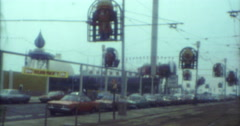 Blackpool Pleasure Beach Street and Cars 70s 80s 16mm Stock Footage