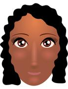 Pretty young african american woman with beautiful hair. Vector illustration Stock Illustration