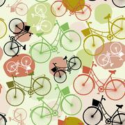 Vintage bicycles, vector, seamless pattern, pastel green brown beige colors Stock Illustration