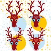 Four brown deer on an orange light blue background. New Year. Winter. vector Stock Illustration