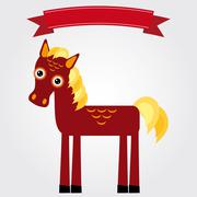 Funny brown horse on a white background. Vintage label. Vector - stock illustration