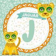 ABC animals J is jaguar. Childrens english alphabet. Vector Stock Illustration