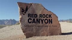 Red rock canyon sign. Nevada, USA. 4K UHD 2 Stock Footage