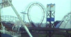 Rollercoaster 70s Funfair 16mm Blackpool Stock Footage