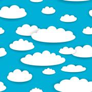 White clouds on blue sky seamless background pattern. vector - stock illustration