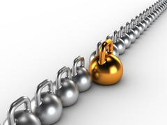 Gym weight kettle bells in a row Stock Illustration