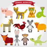 Chinese astrology set of funny animals on a white background. - stock illustration