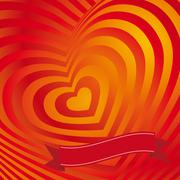 Red heart Valentines day card. Three-dimensional volumetric image Stock Illustration