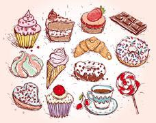 Hand drawn confectionery set croissant Cupcake candy marshmallow ice cream ca - stock illustration