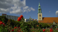 View of St. Mary's Church and Neptune Fountain Stock Footage