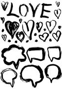 Grunge set of speech bubbles and hearts. grungy decoration effects. Stock Illustration