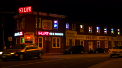 Establishing shot of a tavern or bar in a rural area of the Eastern United - stock footage