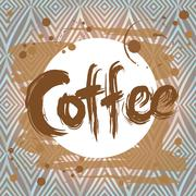 Poster with  coffee stain. Design template. Vector Stock Illustration
