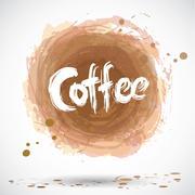 Grunge background with bright brown splash. Coffee. Vector - stock illustration