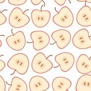 Seamless pattern with apples on the white background. Stock Illustration