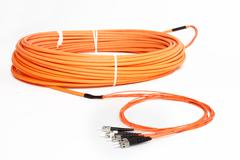 Orange fiber optic ST connector patchcord Stock Photos