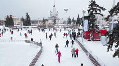 "Fountain ""Friendship of Peoples"", pavilion ""Central"" and an ice rink. Moscow Stock Footage"