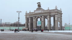 The Propylaea is the central gate entrance in VDHKh area in Moscow, Russia Stock Footage