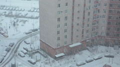 Snowing at winter season in residential complex in sleeping district, SPb Stock Footage