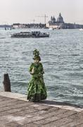 Green Venetian Costume Stock Photos