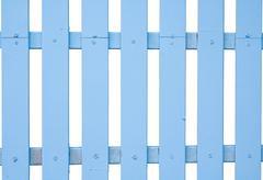 blue fence timber on white background - stock photo