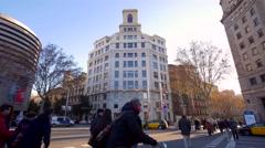 Barcelona street Traffic Stock Footage
