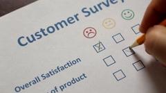 Customer filling survey Stock Footage