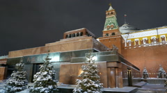 Winter evening. Lenin's Mausoleum on Red Square in Moscow. Stock Footage