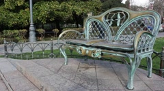 Beautiful forged bench for lovers Stock Footage