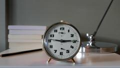 Alarm Clock Retro Style Ringing, Tracking in shot - stock footage