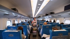Food Service in a Bullet Train, Tokyo, Japan Stock Footage