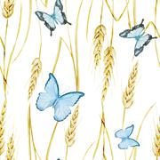 Stock Illustration of Butterfly and wheat pattern