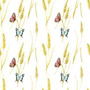 Butterfly and wheat pattern - stock illustration