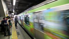 Subway train arrival to station platform, Tokyo, Japan - stock footage