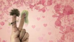 Shaggy hair finger man sing love song. Valentines day joke Stock Footage
