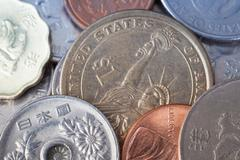 Chinese coin and many international currency Stock Photos