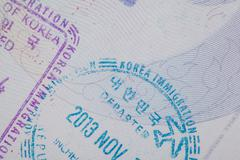 Admitted stamp of Korea Visa for immigration travel concept Stock Photos