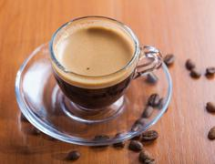 cup of morning coffee crema - stock photo