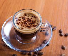 Cup of morning coffee crema Stock Photos