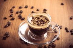 Glass coffee cup crema Stock Photos
